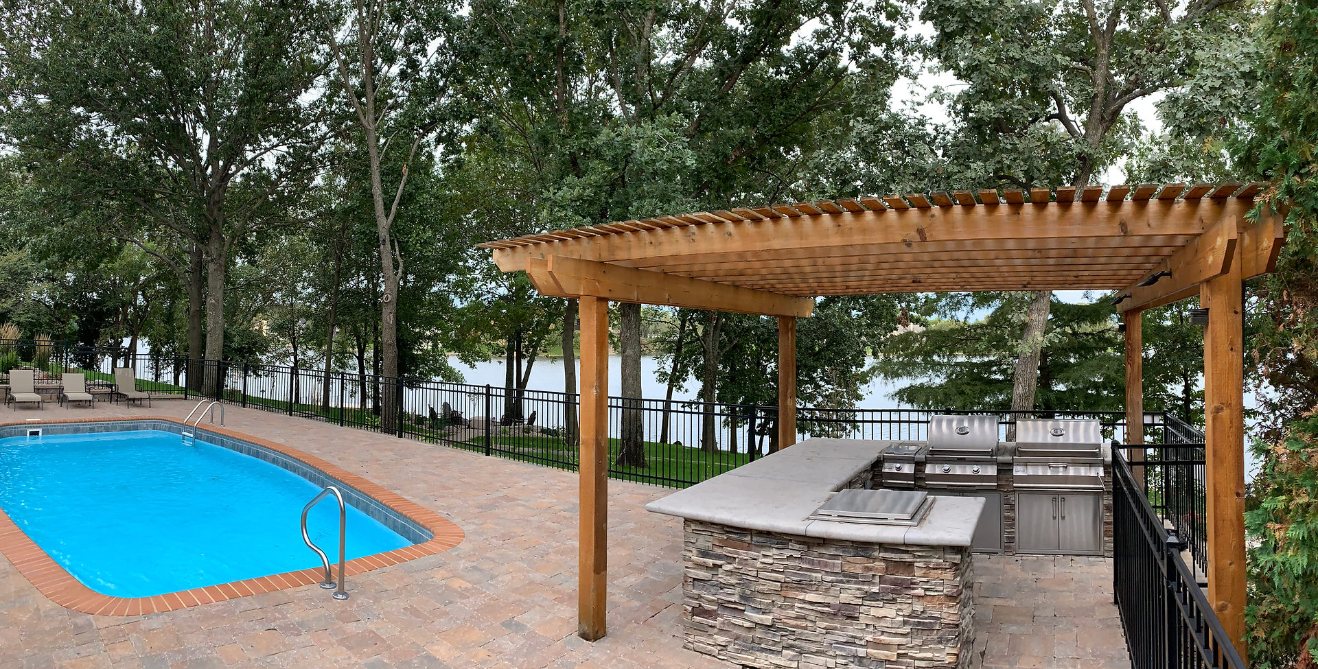 Outdoor grilling with pergola