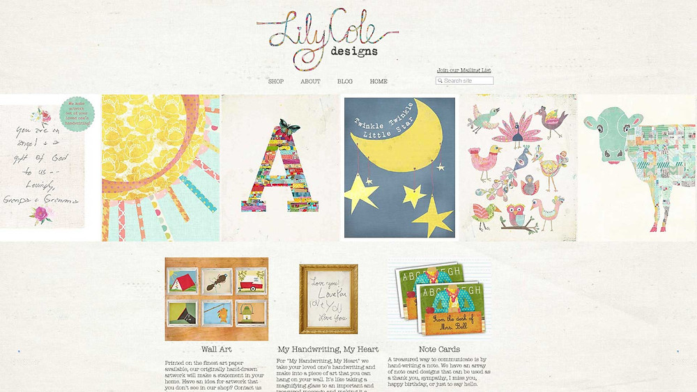 New website for Lily Cole Designs