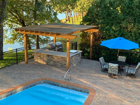 pool pavers and outdoor kitchen in Lakew
