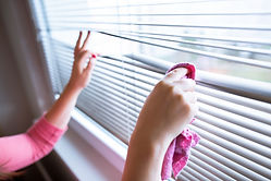 Hand of young woman cleaning blinds by p
