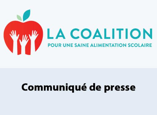 La Coalition demande un Programme de saine alimentation scolaire dans le prochain discours du Trône