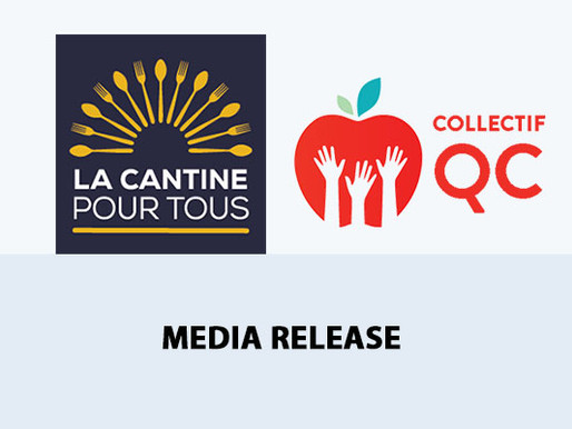 La Cantine pour tous and the Quebec Collective welcome the commitment for new school food funding