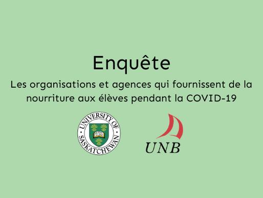 Enquête: organisations et agences qui fournissent de la nourriture aux élèves pendant la Covid-19