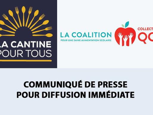 La Cantine pour tous et le Collectif québécois saluent l'engagement pour l'aide alimentaire scolaire