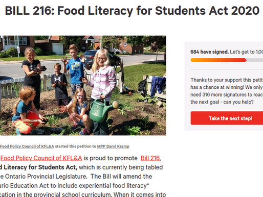 Watching Momentum Grow for Ontario Bill 216 - the Food Literacy for Students Act