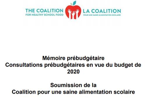 Soumission pour les Consultations prébudgétaires en vue du budget de 2020
