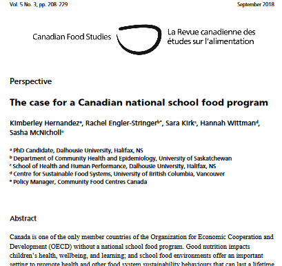 The case for a Canadian national school food program - lessons from research