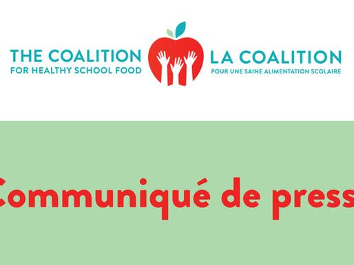 La Coalition appelle toutes les villes à soutenir un programme universel d'alimentation scolaire