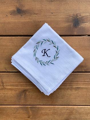 Wreath - Monogram - Flour Sack Towel