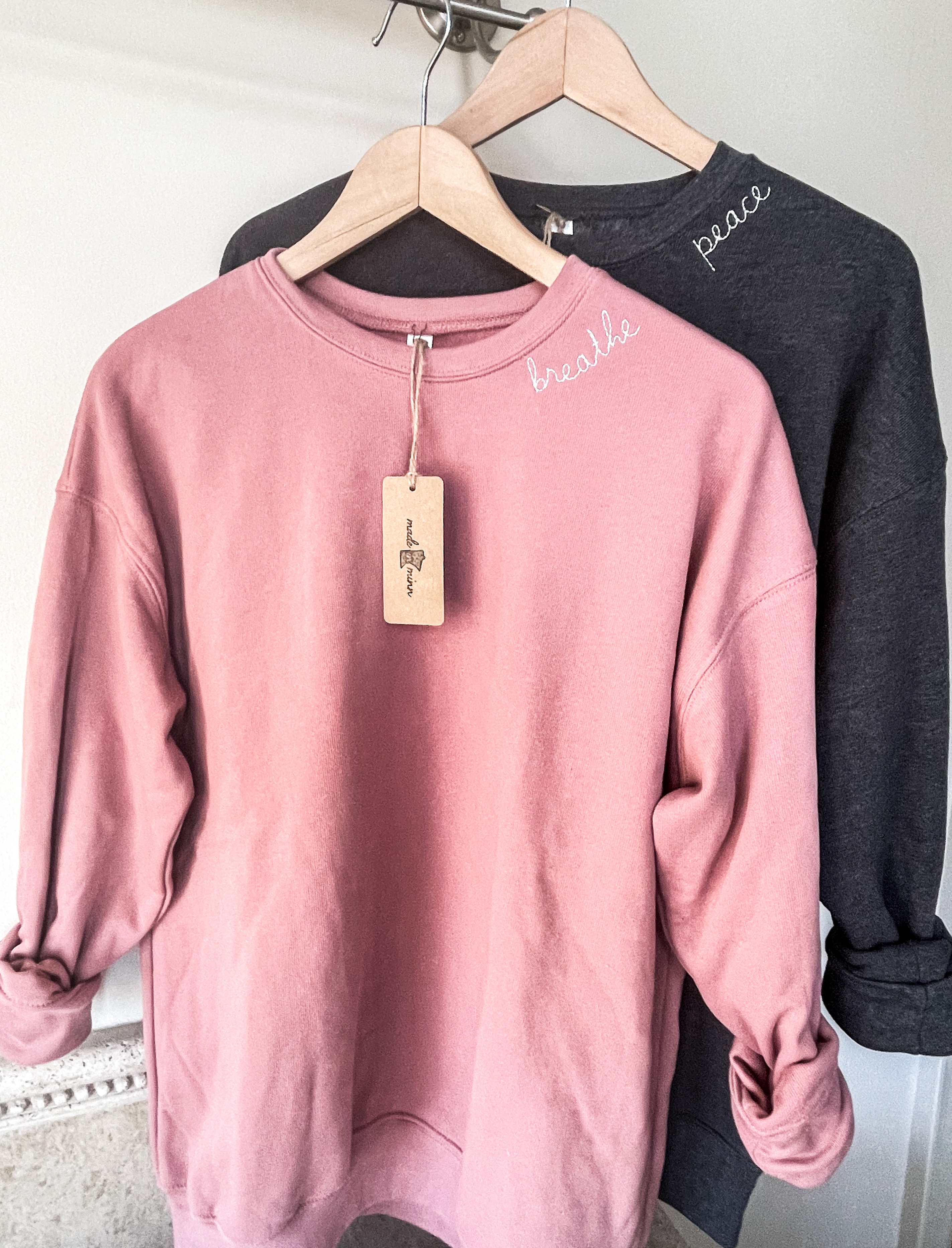 Embroidered Crewneck, Embroidered Sweatshirt, Around the Collar Embroidery, Breathe Crewneck, Peace