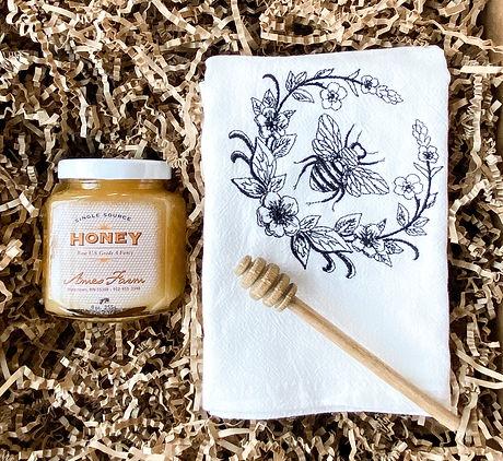 Bee Gift Box, fresh honey, bee flour sack towel, tea towel