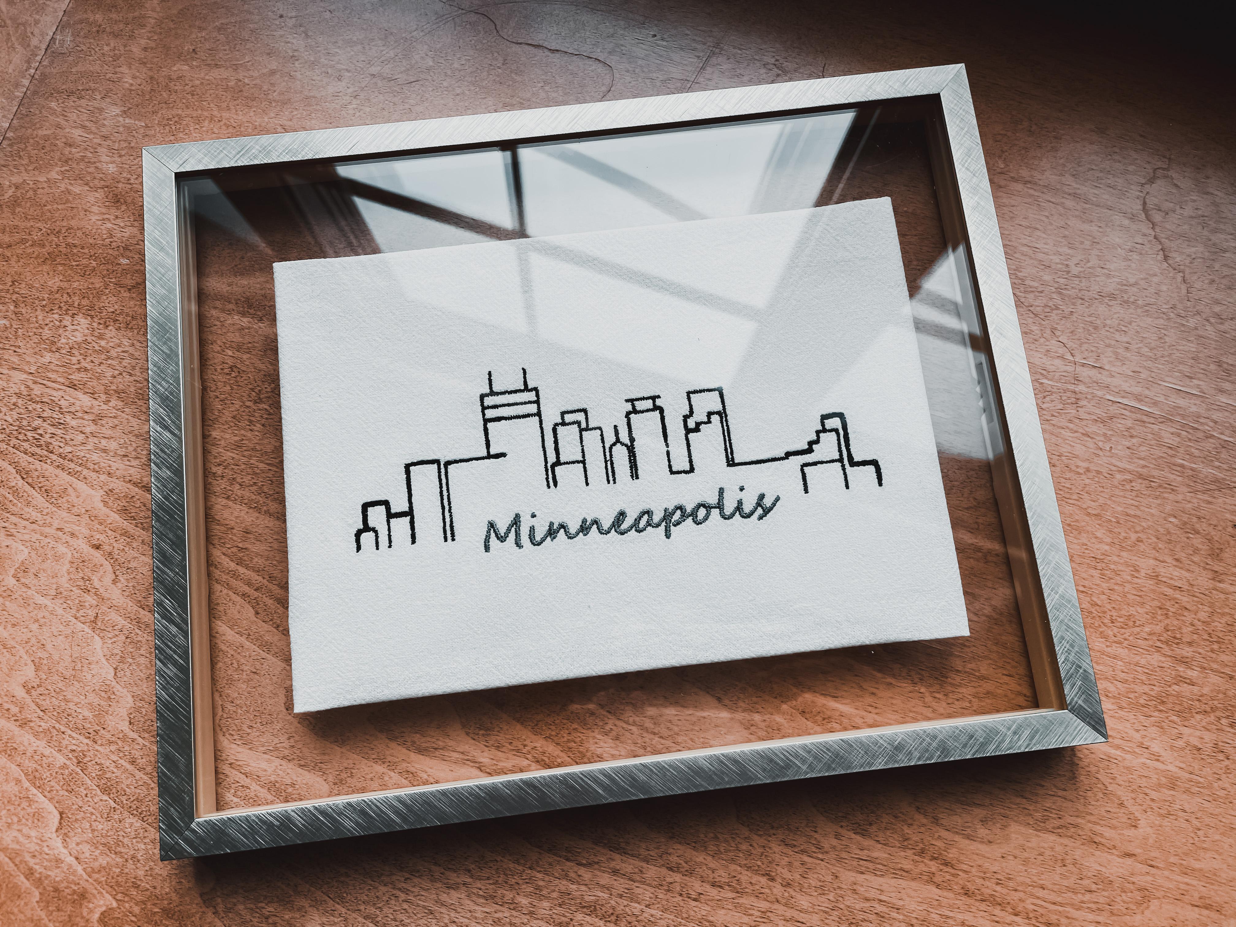 Embroidered Art, Minneapolis Art, Framed Art