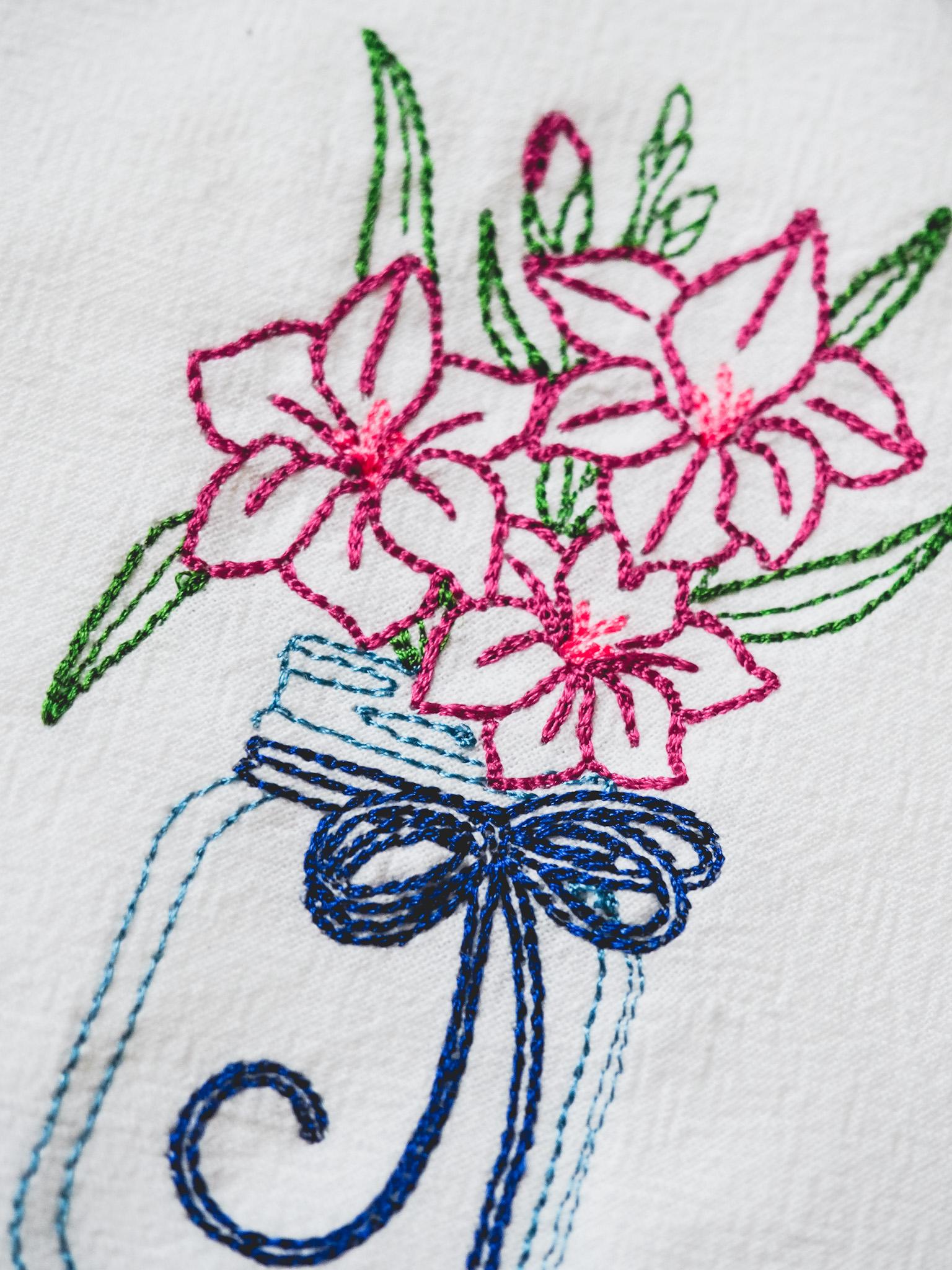 Flower Towel, Close up of Thread, Pretty Stitch work, stitches, Pink flowers, Mason jar