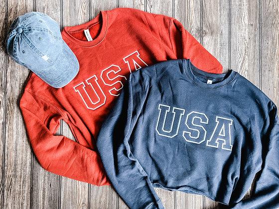 USA Crop Crewneck Sweatshirt