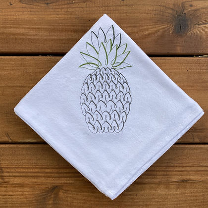 Flower Sack Towel, Pineapple Tea Towel, Gray Pineapple towel
