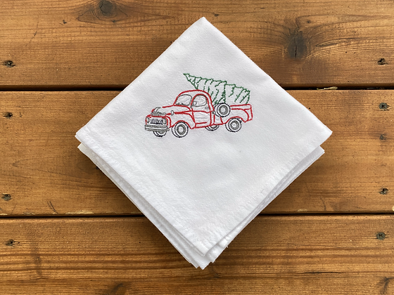 Holiday Truck + Tree - Flour Sack Towel