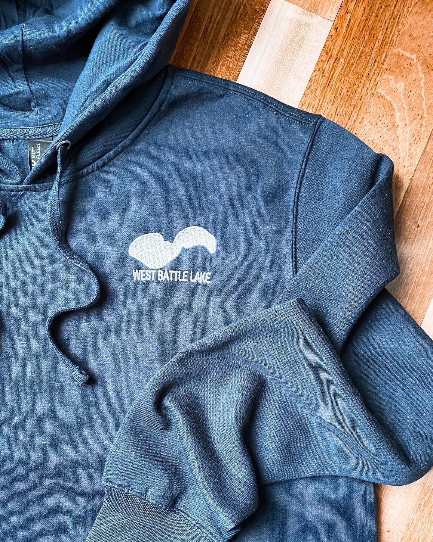 Cabin Hoodie, Custom Sweatshirt, Lake Outline Sweatshirt, West Battle Lake Sweatshirt, Navy Hoodie