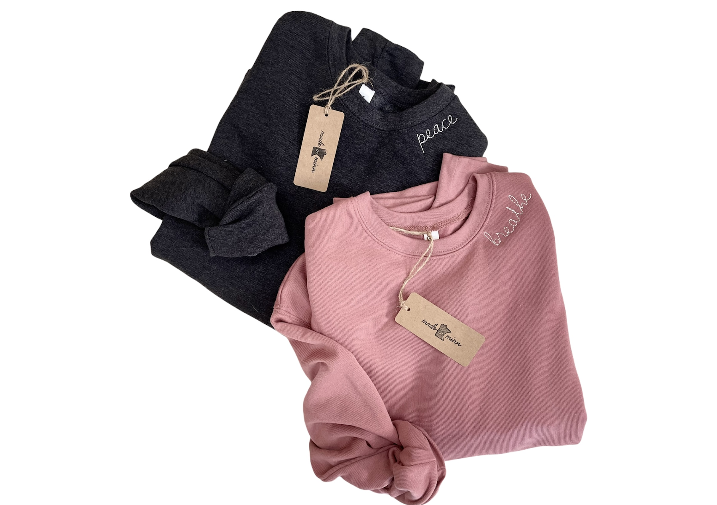 Embroidered Crewneck Sweatshirts, Mauve Sweatshirts, Trendy Embroidery, Around the Collar Embroidery