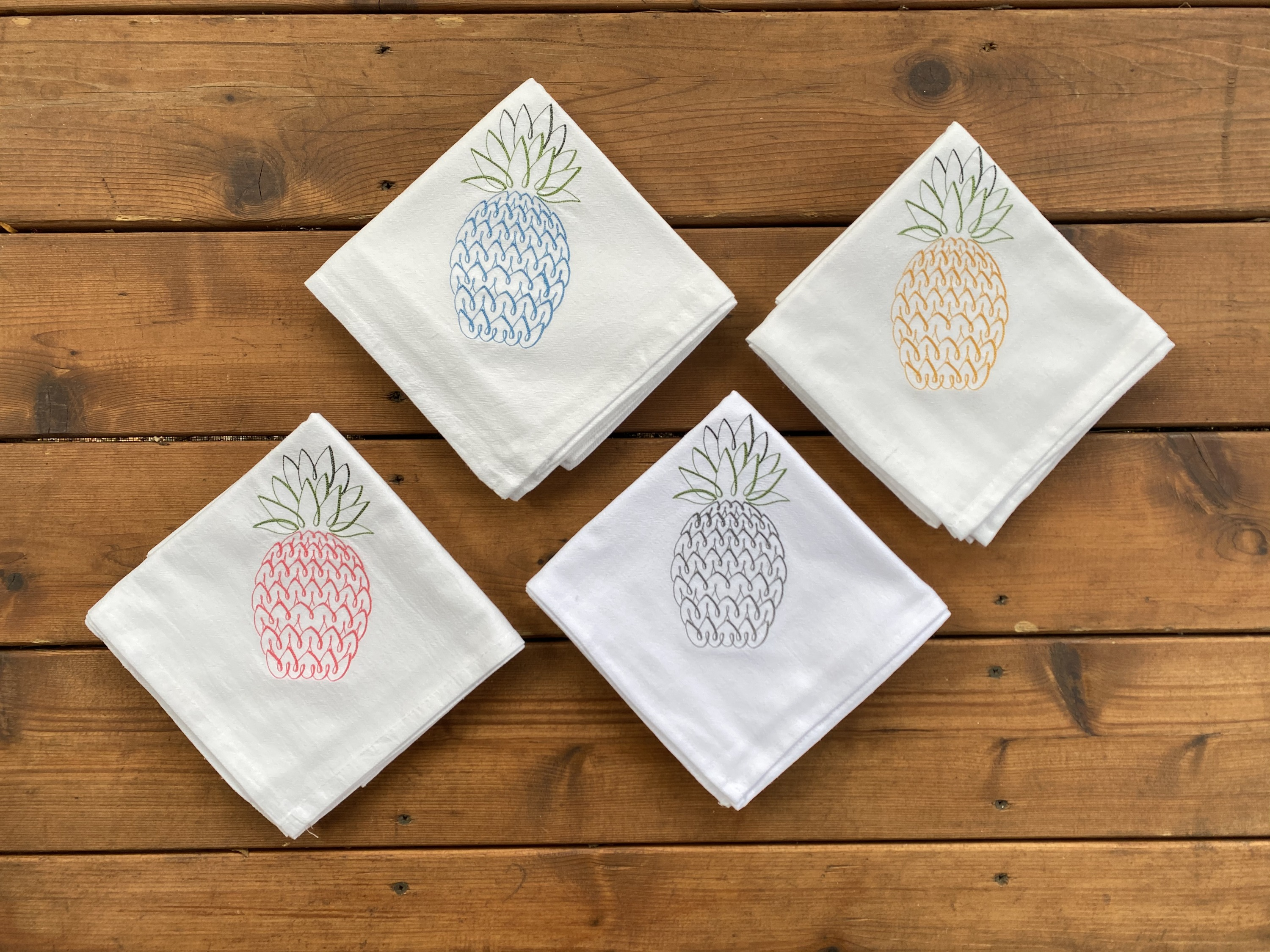Pineapple towels, kitchen towels, towel set of 4, blue pineapple, yellow pineapple, pink pineapple,
