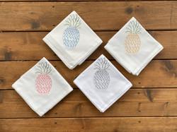 Pineapple towels, kitchen towels, towel set of 4, blue pineapple, yellow pineapple, pink pineapple,