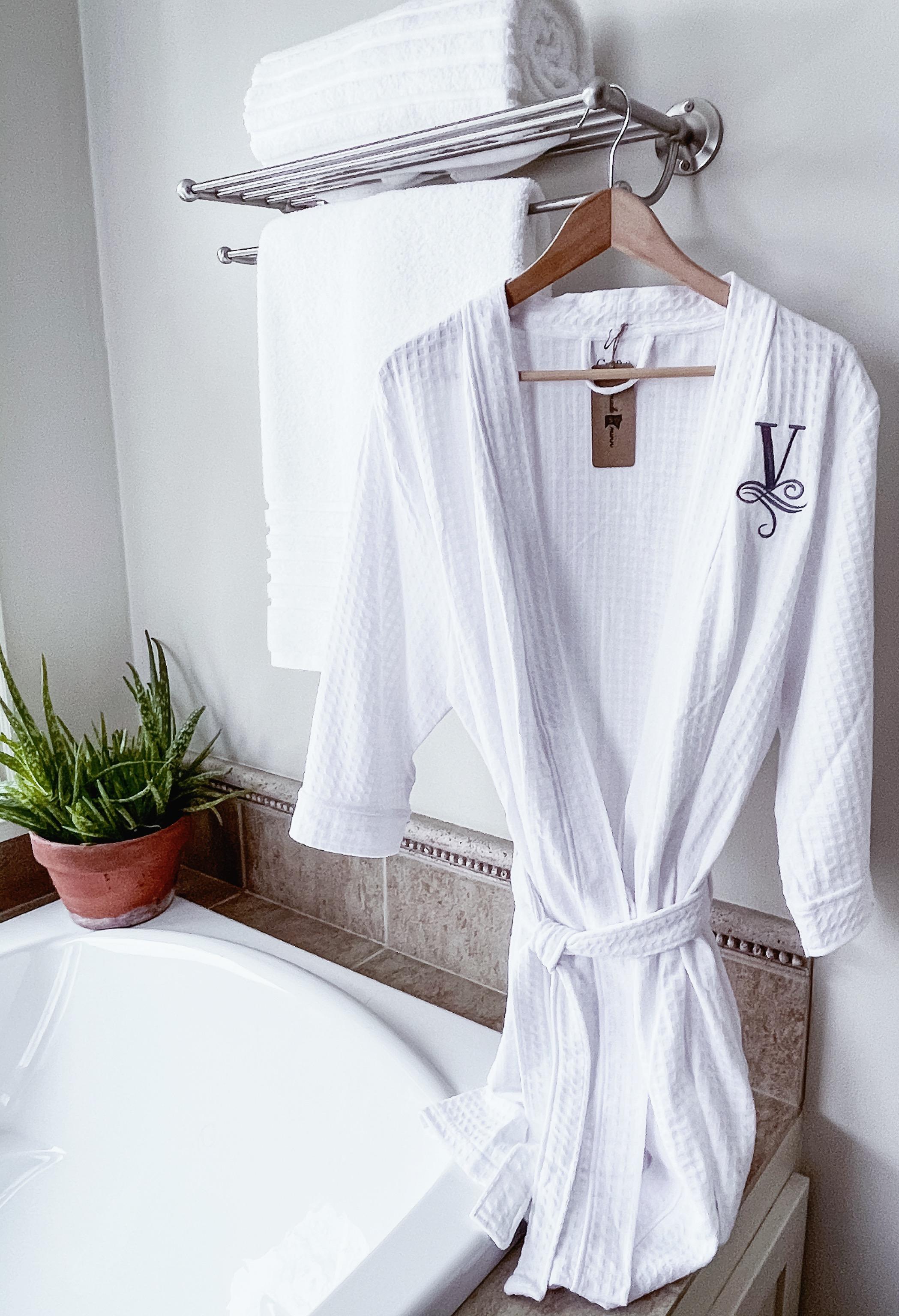 Monogram Bath Robe, Monogrammed, Custom White Robe