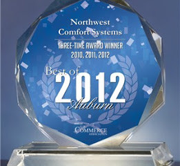 Northwest Comfort Systems Receives 2012 Best of Auburn Award