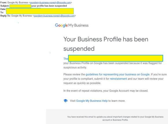 Modelo do aviso de suspensão de ficha de empresa no Meu Negócio do Google em inglês.