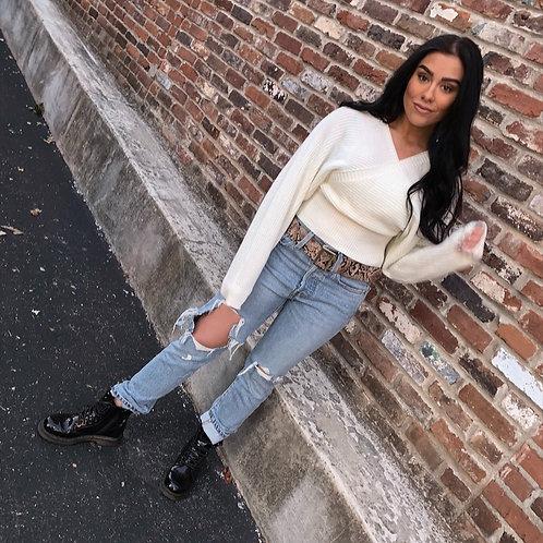 White Cross Sweater