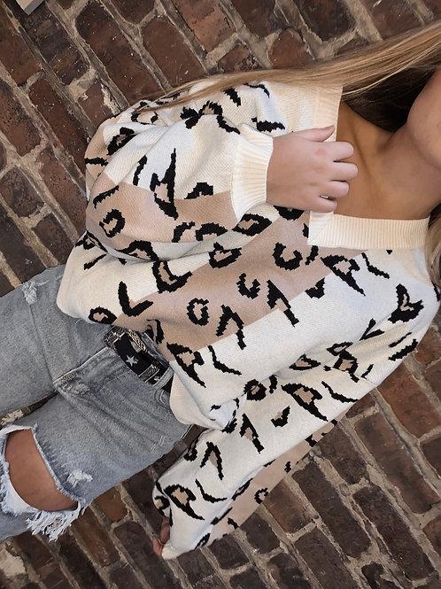 Color Block Cheetah Sweater
