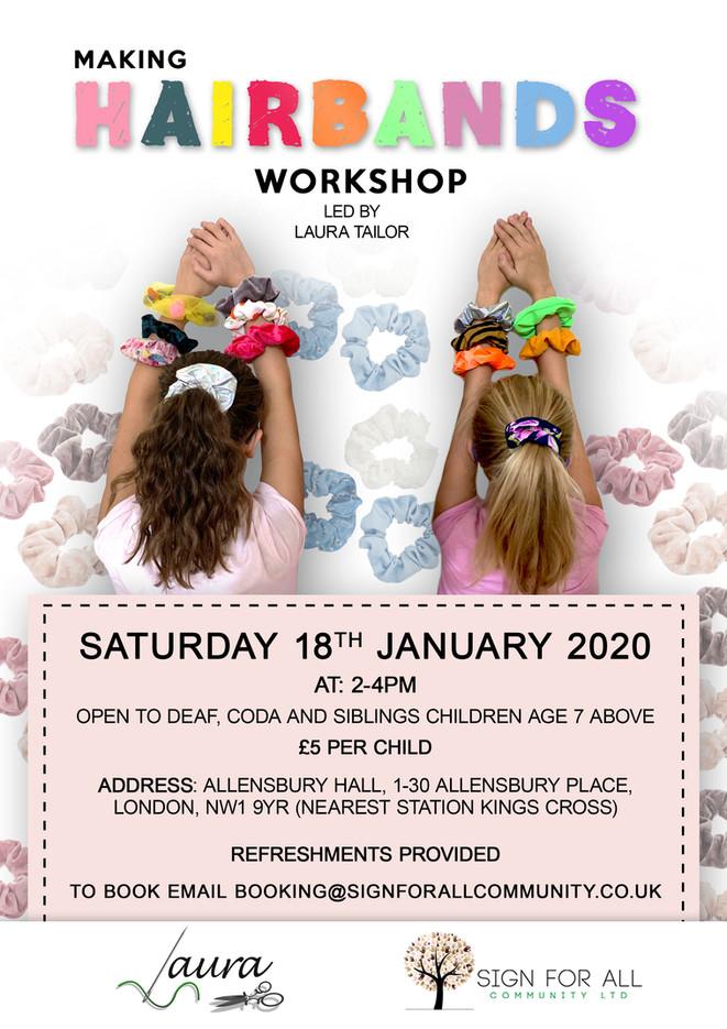 Making hairbands workshop poster