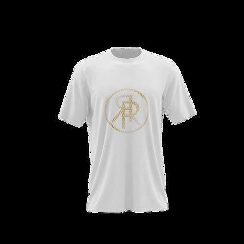 Gold Pattern Logo White T Shirt