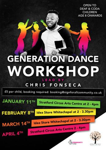 Generational dance workshop poster