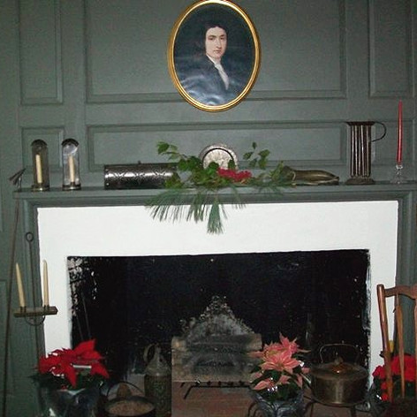 The fireplace in the Temple Parlor.