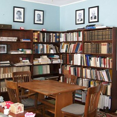 Our library available for public use in the Gail Kuser Office.