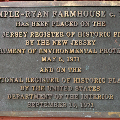 Our plaque stating our listing on the New Jersey and National Historic Registries.