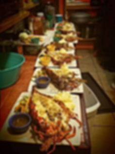 Only restaurant in Belize to feature live fresh Lobster straight from King Lewey's Island Resort, Placencia Belize