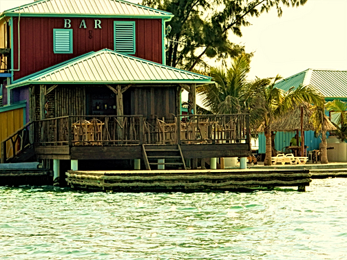 Black Pearl Bar on King Lewey's Island Resort, Placencia Belize