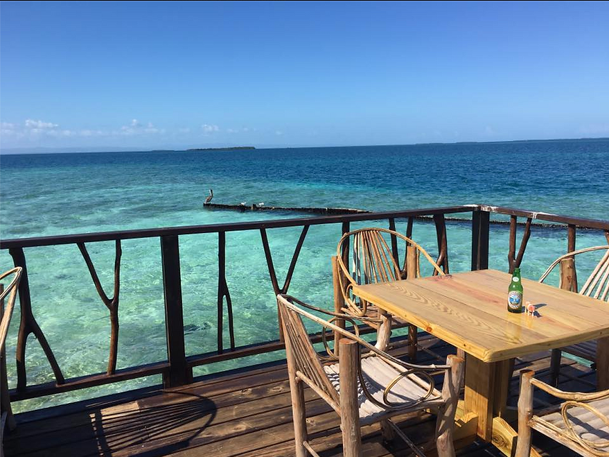 Relaxing on the Black Pearl Bar on King Lewey's Island Resort, Placencia Belize