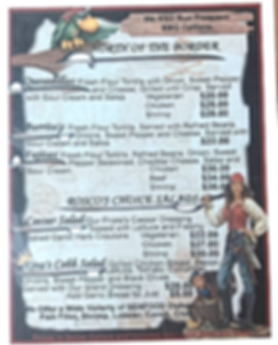 Lunch Menu at the Black Pearl Restaurant on King Lewey's Island Resort