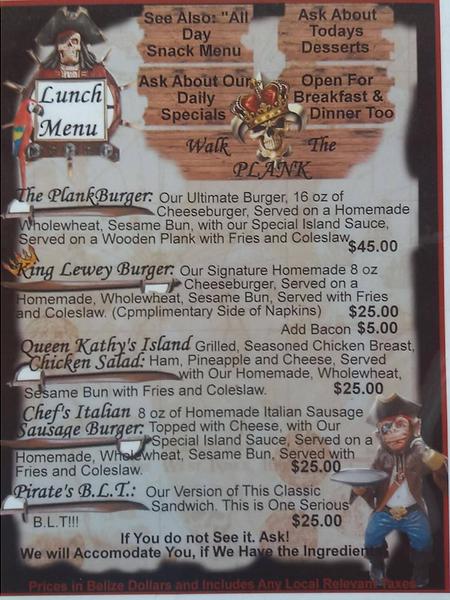 Lunch Menu at the Black Pearl Restaurant on King Lewey's Island Resort
