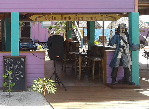 Captain Jack Sparrow's Den on King Lewey's Island Resort, Placencia Belize