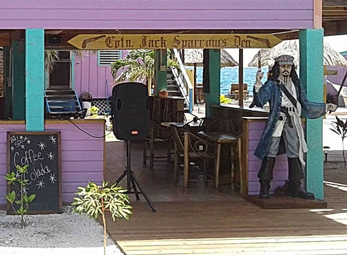 Captain Jack Sparrow's Den on King Lewey's Island Resort, Placencia Belize
