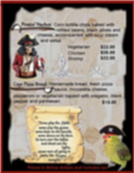 Menu at the Black Pearl Restaurant on King Lewey's Island Resort