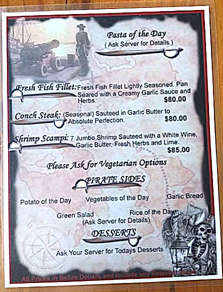 Pasta Menu at the Black Pearl Restaurant on King Lewey's Island Resort