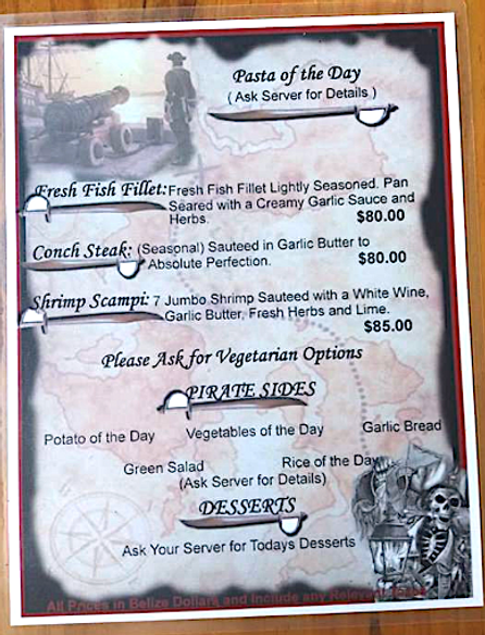 Pasta Menu at the Black Pearl Restaurant on King Lewey's Island Resort