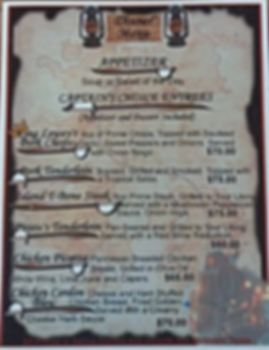 Dinner Menu at the Black Pearl Restaurant on King Lewey's Island Resort