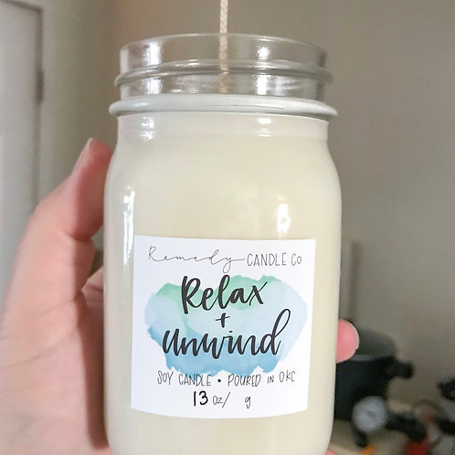 Relax + Unwind Soy Wax Candle