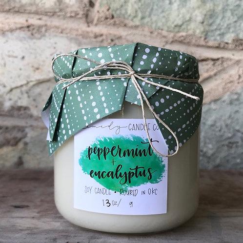 Peppermint + Eucalyptus Soy Wax Candle