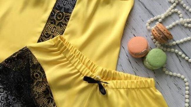 ladies Satin pajamas set with lace edge sexy sleepwear
