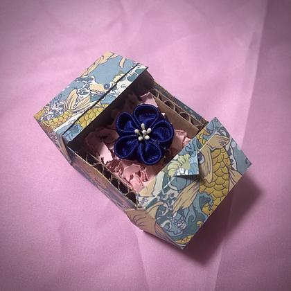 Dark Blue Flower Kanzashi Ring
